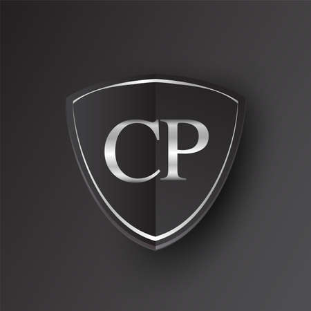 Initial logo letter CP with shield Icon silver color isolated on black background, logotype design for company identity.