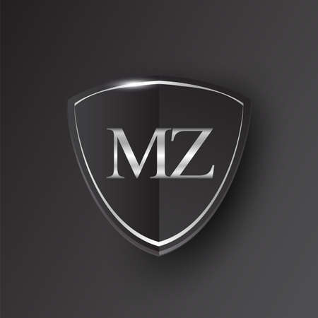 Initial logo letter MZ with shield Icon silver color isolated on black background, logotype design for company identity.