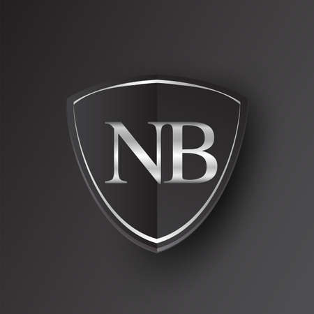 Initial logo letter NB with shield Icon silver color isolated on black background, logotype design for company identity.