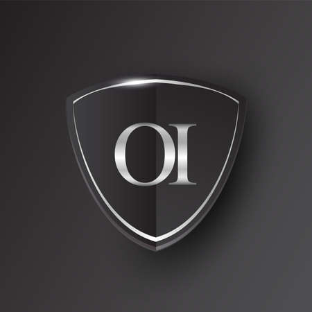 Initial logo letter OI with shield Icon silver color isolated on black background, logotype design for company identity.