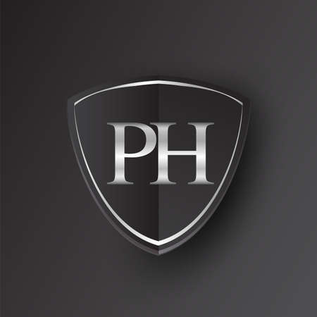 Initial logo letter PH with shield Icon silver color isolated on black background, logotype design for company identity.