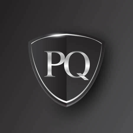 Initial logo letter PQ with shield Icon silver color isolated on black background, logotype design for company identity.