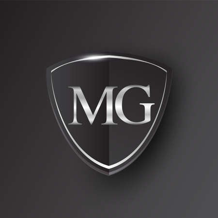 Initial logo letter MG with shield Icon silver color isolated on black background, logotype design for company identity. Illusztráció