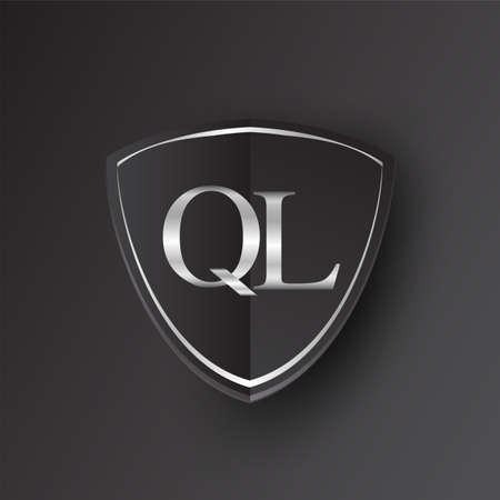 Initial logo letter QL with shield Icon silver color isolated on black background, logotype design for company identity.