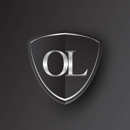 Initial logo letter OL with shield Icon silver color isolated on black background, logotype design for company identity. Illusztráció