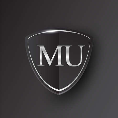 Initial logo letter MU with shield Icon silver color isolated on black background, logotype design for company identity.