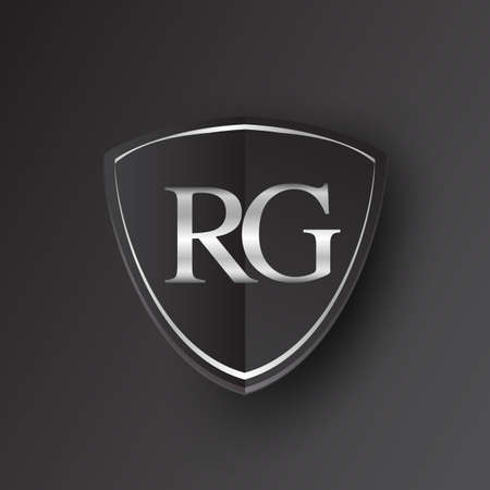 Initial logo letter RG with shield Icon silver color isolated on black background, logotype design for company identity.