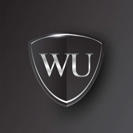 Initial logo letter WU with shield Icon silver color isolated on black background, logotype design for company identity.