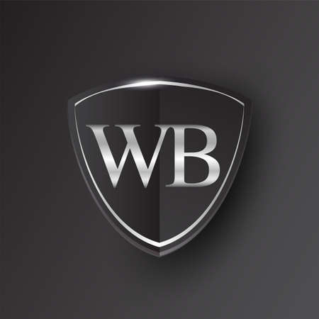 Initial logo letter WB with shield Icon silver color isolated on black background, logotype design for company identity.