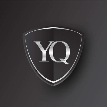 Initial logo letter YQ with shield Icon silver color isolated on black background, logotype design for company identity.