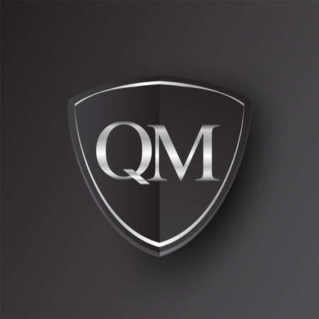 Initial logo letter QM with shield Icon silver color isolated on black background, logotype design for company identity.