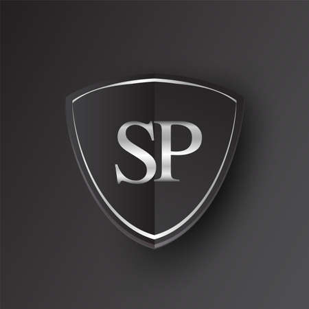 Initial logo letter SP with shield Icon silver color isolated on black background, logotype design for company identity. Illusztráció