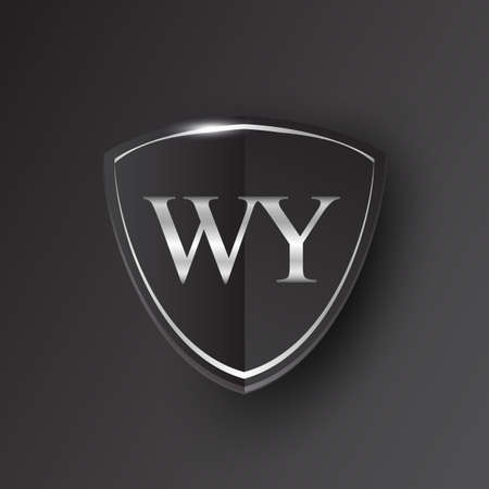 Initial logo letter WY with shield Icon silver color isolated on black background, logotype design for company identity.