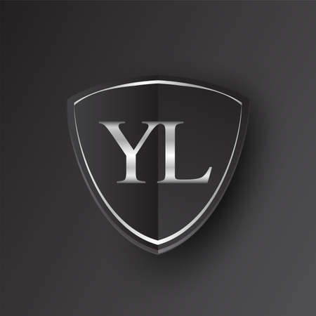 Initial logo letter YL with shield Icon silver color isolated on black background, logotype design for company identity. Illusztráció