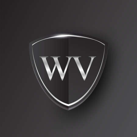Initial logo letter WV with shield Icon silver color isolated on black background, logotype design for company identity.