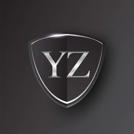 Initial logo letter YZ with shield Icon silver color isolated on black background, logotype design for company identity.
