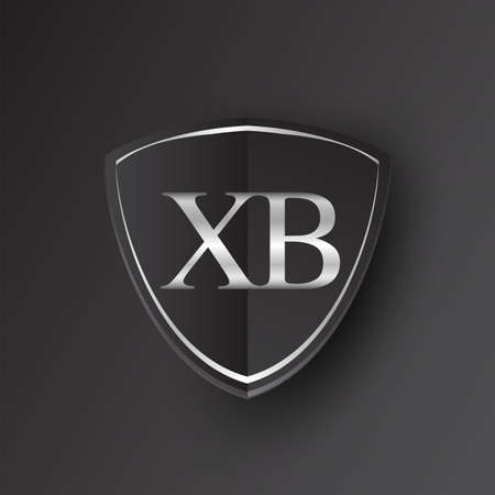 Initial logo letter XB with shield Icon silver color isolated on black background, logotype design for company identity.