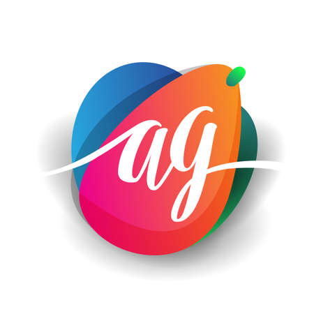 Letter AG logo with colorful splash background, letter combination logo design for creative industry, web, business and company. Illusztráció