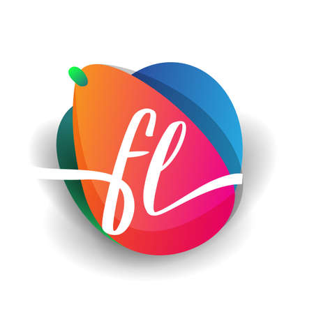 Letter FL logo with colorful splash background, letter combination logo design for creative industry, web, business and company. Ilustrace