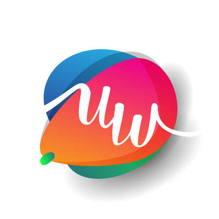 Letter UW logo with colorful splash background, letter combination logo design for creative industry, web, business and company.