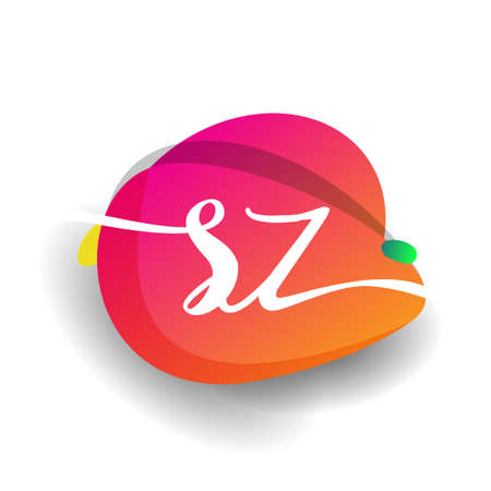 Letter SZ logo with colorful splash background, letter combination logo design for creative industry, web, business and company.