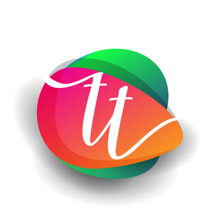 Letter TT logo with colorful splash background, letter combination logo design for creative industry, web, business and company.
