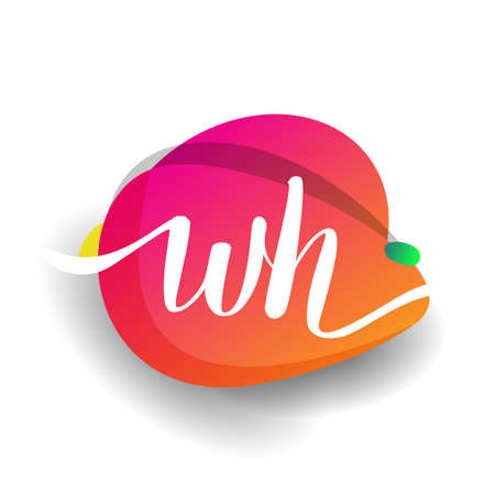 Letter WH logo with colorful splash background, letter combination logo design for creative industry, web, business and company.
