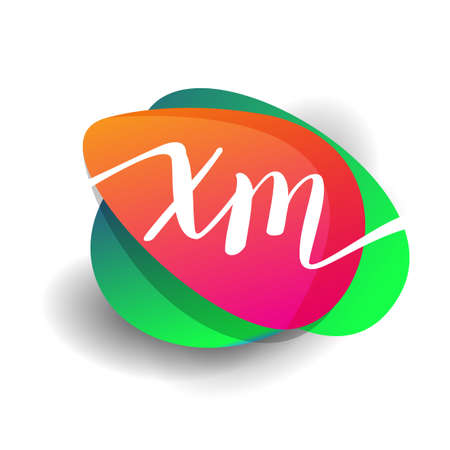 Letter XM logo with colorful splash background, letter combination logo design for creative industry, web, business and company. 向量圖像
