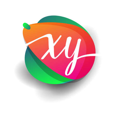 Letter XY logo with colorful splash background, letter combination logo design for creative industry, web, business and company.