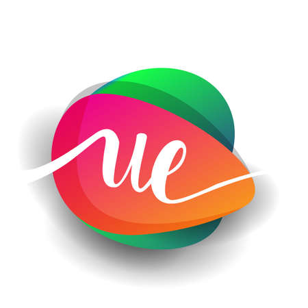 Letter UE logo with colorful splash background, letter combination logo design for creative industry, web, business and company. 向量圖像