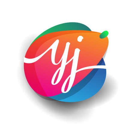 Letter YJ logo with colorful splash background, letter combination logo design for creative industry, web, business and company. 向量圖像