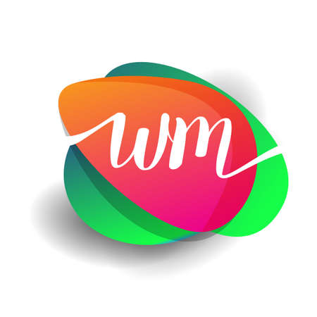 Letter WM logo with colorful splash background, letter combination logo design for creative industry, web, business and company.