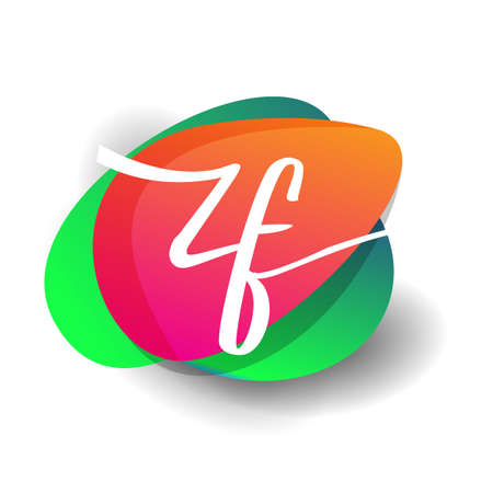 Letter ZF logo with colorful splash background, letter combination logo design for creative industry, web, business and company. 向量圖像