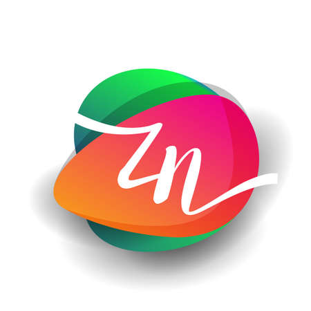 Letter ZN logo with colorful splash background, letter combination logo design for creative industry, web, business and company. 向量圖像