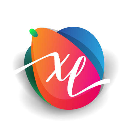 Letter XL logo with colorful splash background, letter combination logo design for creative industry, web, business and company.