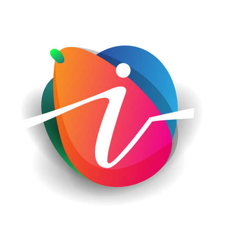 Letter I logo with colorful splash background, letter combination logo design for creative industry, web, business and company. 向量圖像