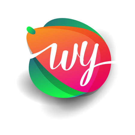 Letter WY logo with colorful splash background, letter combination logo design for creative industry, web, business and company. 向量圖像