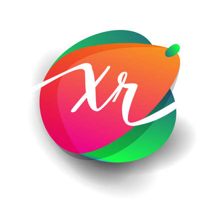 Letter XR logo with colorful splash background, letter combination logo design for creative industry, web, business and company.