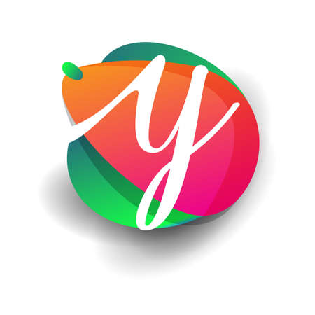 Letter Y logo with colorful splash background, letter combination logo design for creative industry, web, business and company.