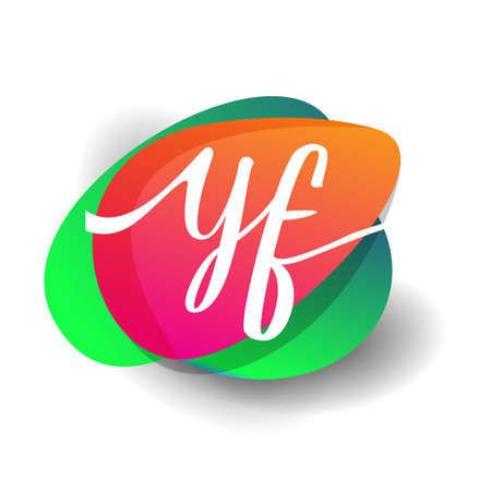 Letter YF logo with colorful splash background, letter combination logo design for creative industry, web, business and company.