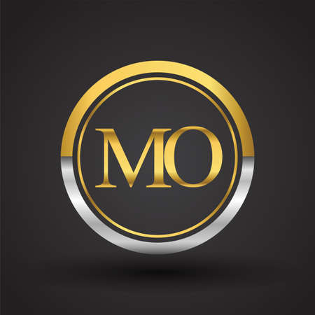 MO Letter logo in a circle, gold and silver colored. Vector design template elements for your business or company identity. Ilustração