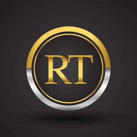 RT Letter logo in a circle, gold and silver colored. Vector design template elements for your business or company identity.