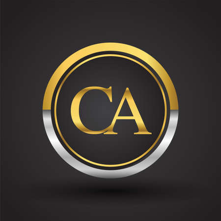 CA Letter logo in a circle, gold and silver colored. Vector design template elements for your business or company identity. Ilustração