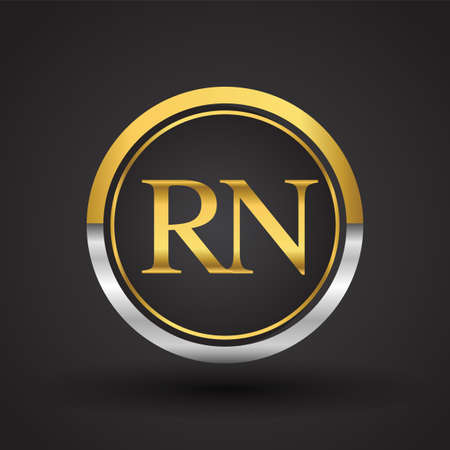 RN Letter logo in a circle, gold and silver colored. Vector design template elements for your business or company identity. Logo