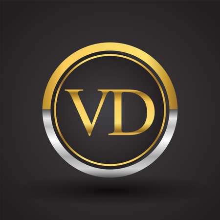 VD Letter logo in a circle, gold and silver colored. Vector design template elements for your business or company identity.