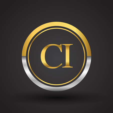 CI Letter logo in a circle, gold and silver colored. Vector design template elements for your business or company identity.