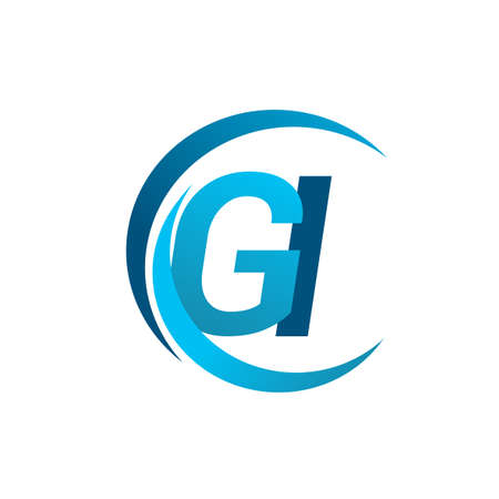initial letter GI logotype company name blue circle and swoosh design. vector logo for business and company identity.
