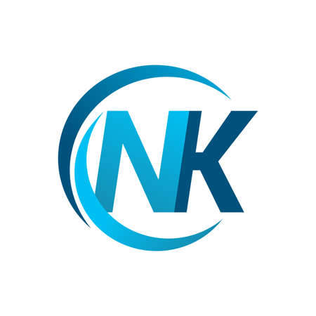 initial letter NK logotype company name blue circle and swoosh design. vector logo for business and company identity.