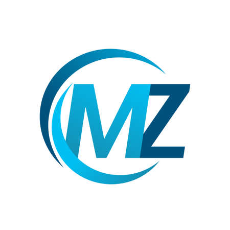 initial letter MZ logotype company name blue circle and swoosh design. vector logo for business and company identity. Logó