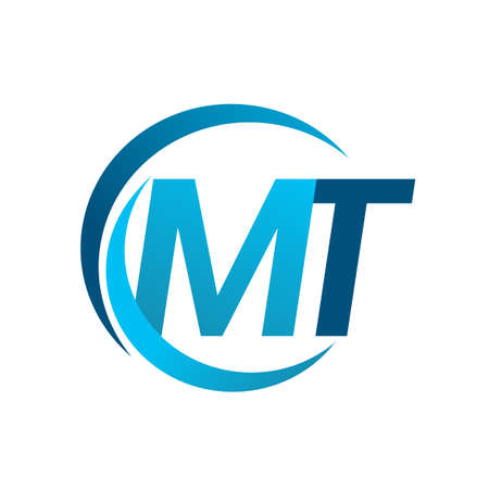 initial letter MT logotype company name blue circle and swoosh design. vector logo for business and company identity.